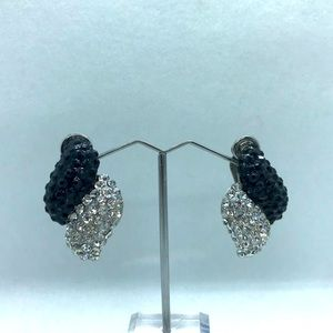 Silver tone & black rhinestone clip on earrings